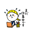 三つ編みリボンの女の子(個別スタンプ:02)
