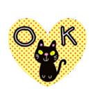 黒猫ハート(個別スタンプ:09)