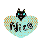 黒猫ハート(個別スタンプ:16)