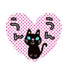 黒猫ハート(個別スタンプ:19)