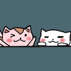 白猫とピンクなリス