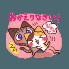 大福にゃんにゃん キジトラ君&三毛猫さん