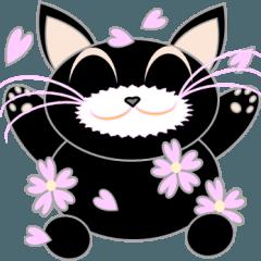 桜の黒ねこ