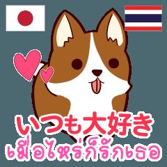 [LINEスタンプ] 犬 : いつも大好き タイ語日本語