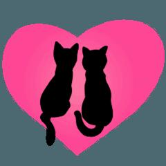 シンプル☆黒猫▷動く▷ラブ♡愛