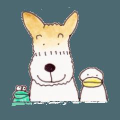 テリア犬とアヒル