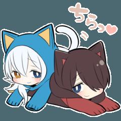 黒猫少年&白猫少年【毎日使えるスタンプ】